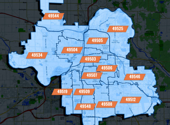 Grand Rapids, MI Zip Code Map