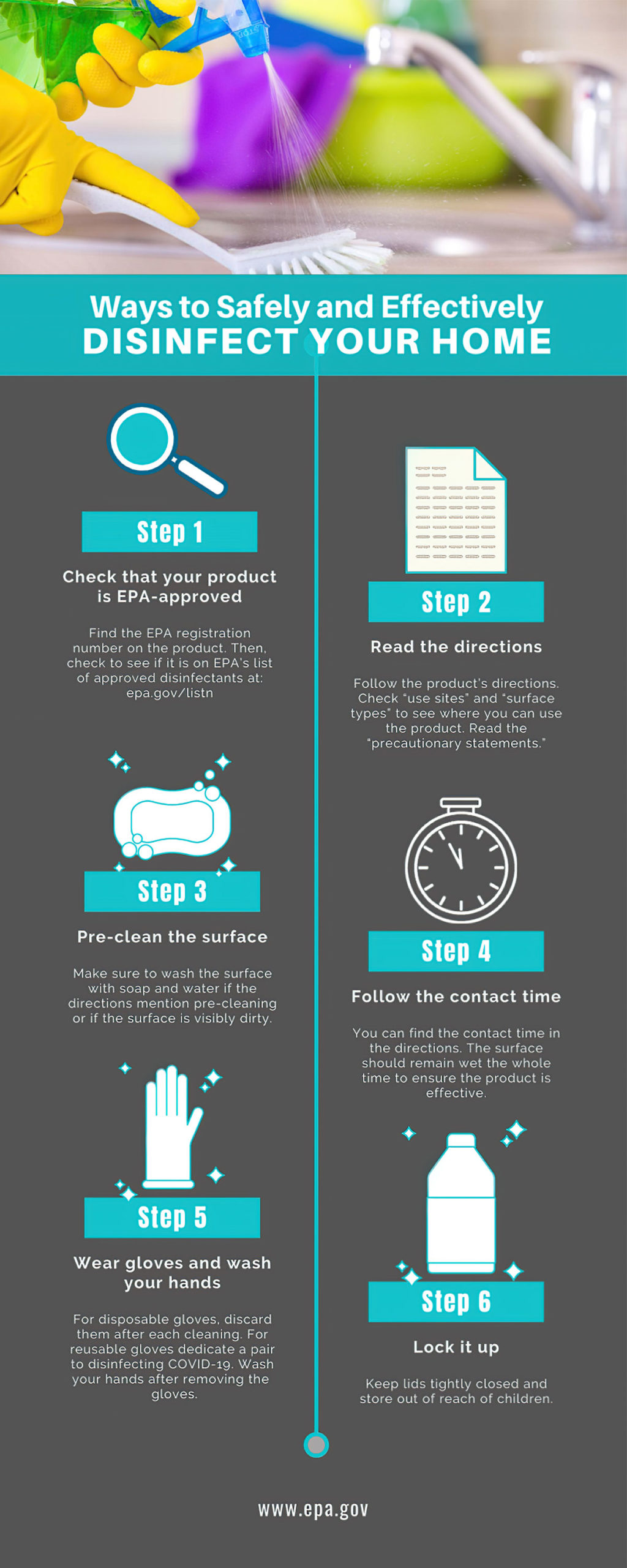 ways to safely and effectively disinfect your home infographic